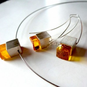 Baltic Amber Pendant , Necklace . Modern Baltic Amber Jewelry.