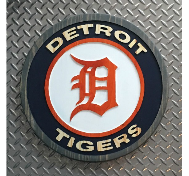 Detroit Tigers Wood Carved Signs