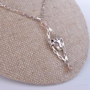 Shiny Silver Tiger Drop Necklace