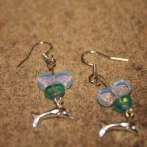 Sterling Silver Dolphin Earrings With Iridescent Sea Glass Bubbles and Turquoise Hearts