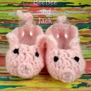 Crochet Piggy Booties 3-6 Months