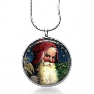 Vintage Santa Necklace - Christmas Jewelry - Holiday Pendant - Saint Nick