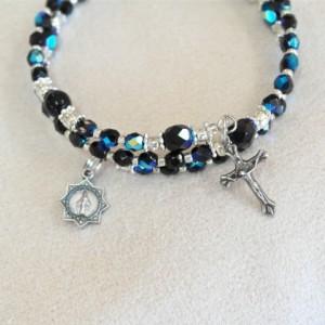 Rosary Bracelet of Czech AB Black Crystal Beads