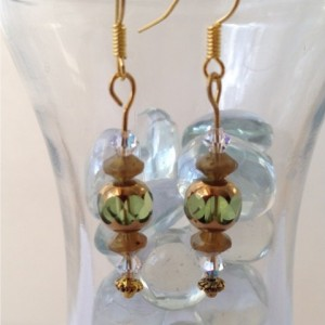 Golden Luster Crystal Dangle Earrings, Green