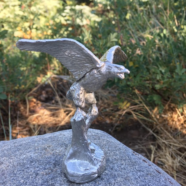 Bald Eagle pewter figurine, hand cast