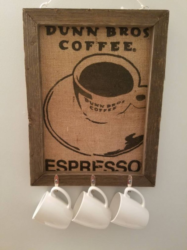Burlap Coffee Barnwood Sign with Antique Mug Spoon Hooks
