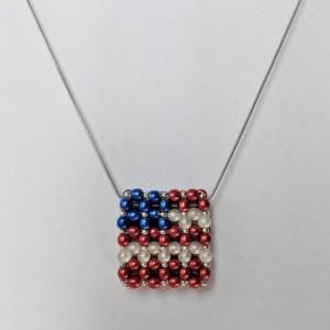 Red, White & Blue Czech Glass Bead Flag Slide Bar Pendant Necklace