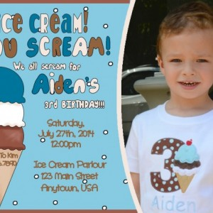 Ice Cream Birthday Invitation, Invitations, Birthday, Ice Cream Party