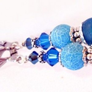 Royal Blue Lever Back Earrings. Dangle Beaded Earrings, Agate Earrings, Beaded Jewelry Sale, Gemstone Earrings, Blue Earrings Wedding, Sale
