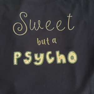 ladies navy sweet but a psycho tshirt