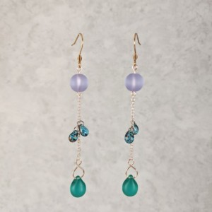 The Delilah | handmade bead drop earrings, frosted sea glass, Czech glass, teardrop beads, Gifts for Her