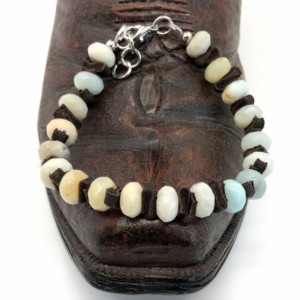 Boho Amazonite Bracelet made with rondelle (8x5mm) stones and leather spacers