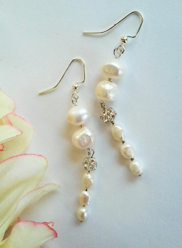 Pearlesque ~ Beaded Pearl Shoulder Duster Earrings ~ Dramatic Earrings ~ Bridal Earrings ~ Pearl Wedding Earrings ~ Gift for Her