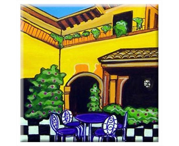 Mexican Folk Art - VILLA #1 - TILE Signed By Artist A.V.Apostle