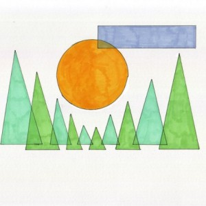 Art Print Nature Lover Geometric Art Midday Sun Drawing Giclee 5x7 Print Abstract Landscape Home Decor Ink Illustration Yellow Green Blue