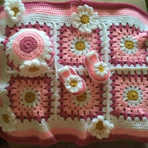 Spring flower baby set blanket, hat, and sandals