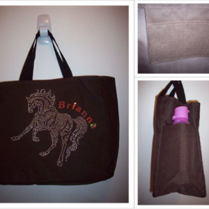 Personalized Rhinestone Horse Tote Bag with pockets