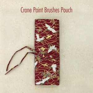 Crane Paint Brushes Pouch - Watercolor Brushes Wraps   Red Artist Roll   Brushes Holder   Brush Roll   Gift for Painters   Brushes Case