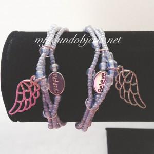 Beaded Stacking Bracelets, Believe Angel Wing