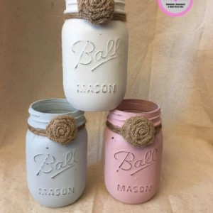 Set of 3 Chalk Painted Mason Jars