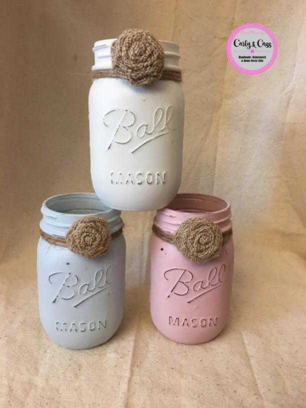 Set of 3 Chalk Painted Mason Jars