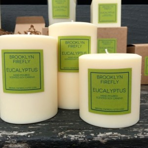 "Eucalyptus Candles. FREE SHIPPING. Scented Soy. 3"" Round Pillars. Set of 3."