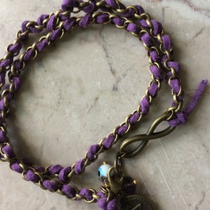 Purple leather/Bronze chain bracelet,Infinite link, evil eye charm, start of david charm. #B00247