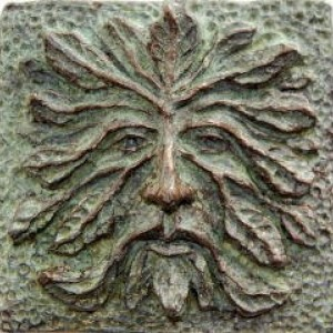 Greenman art tile, green man tile, greenman