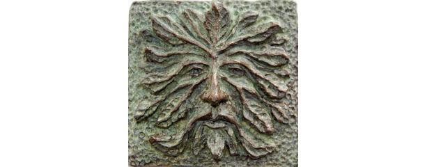 Greenman art tile, green man tile, greenman