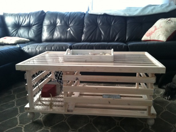 Handmade Wooden Lobster Trap Coffee Table White Finish Free Shi