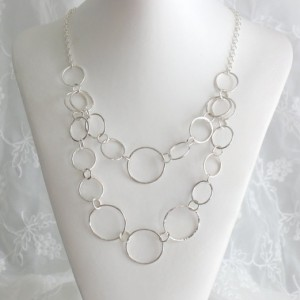"20"" Trendy, Stylish Genuine Sterling Silver Hammered Necklace. Circle Bib Chain"