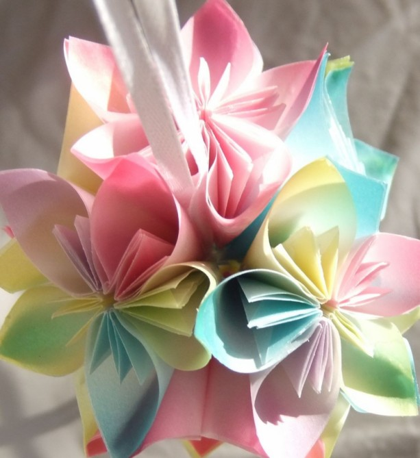 Origami Small Flower Ornament Pastel Christmas Tree Decorative Fan Pull