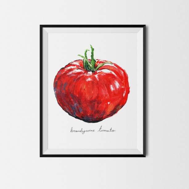 8x10 Tomato Print, Food Art, Food Illustration, Wall Art, Kitchen Art, Kitchen Decor, Kitchen Print, Food Print, Red Art, Vegetable, Tomato Paint