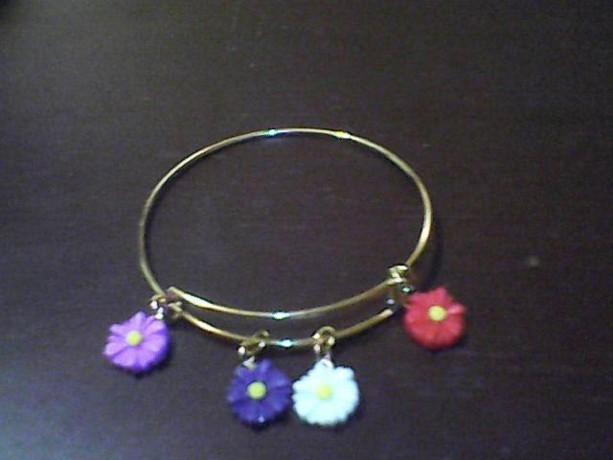 Homemade Flower Bangle Bracelet. Red, Yellow, Blue, Purple
