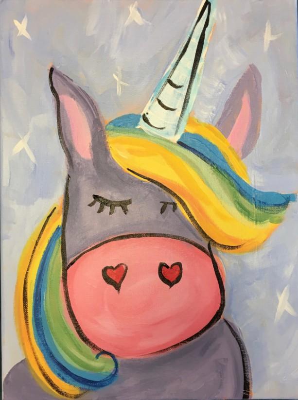 Purple Unicorn Painting on Canvas- free shipping