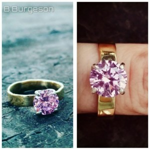 Spellbound Pink CZ Solitaire Ring in Brass