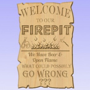 Custom Personalized ( add text of your choice if you would like ) Welcome to Our Fire Pit Sign V Carved Wood Sign