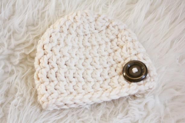 Chunky Crochet Wool Baby Hat In Creambaby Crochet Hatchunky Cro