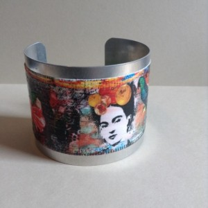 Frida Kahlo Cuff Bracelet with Frida Kahlo with colors-Silver Cuff-Deco Podge