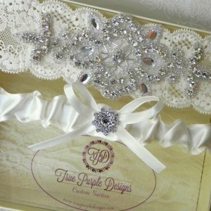 Ivory Lace & Satin Garter Set with Czech Rhinestones and Beading