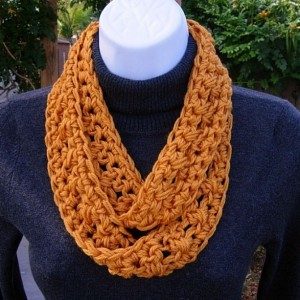 SUMMER SCARF Infinity Loop, Solid Golden Orange Soft Lightweight Skinny Small Crochet Knit Circle Endless Cowl, Crocheted Necklace, Women's Neck Tie..Ready to Ship in 2 Days