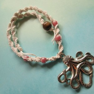 Handmade White Hemp Necklace with Steampunk Silver Octopus Charm Pendant and Pink Glass Beads- Steampunk Necklace- Octopus Jewelry