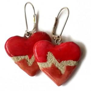 Heartbeat Earrings - Mosaic Tile - EKG - Interchangeable - Reversible