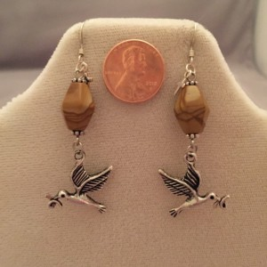 Sterling Silver and Wood Grain Jasper with Doves of Peace Earrings