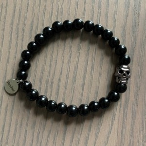Men's stretch black glass beaded bracelet 7-8mm with skull - Limited Quantities!!!!!