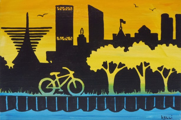 """Milwaukee Skyline 9"" original painting"