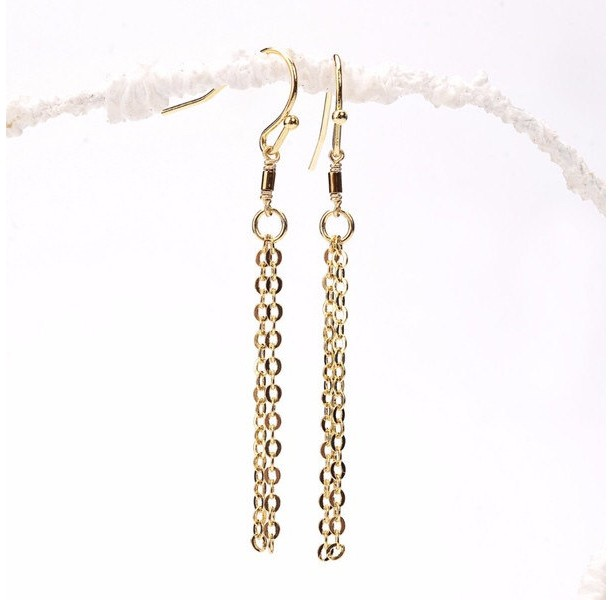 Thin Gold Hematite Tube Tassel Earrings