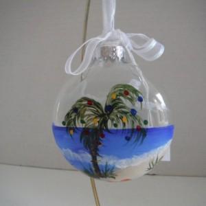 Ornament, glass, Beach scene, palm tree