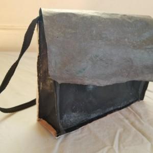 Black and gray handbag