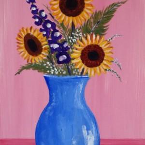 """Vase of Sunflowers"" original painting"